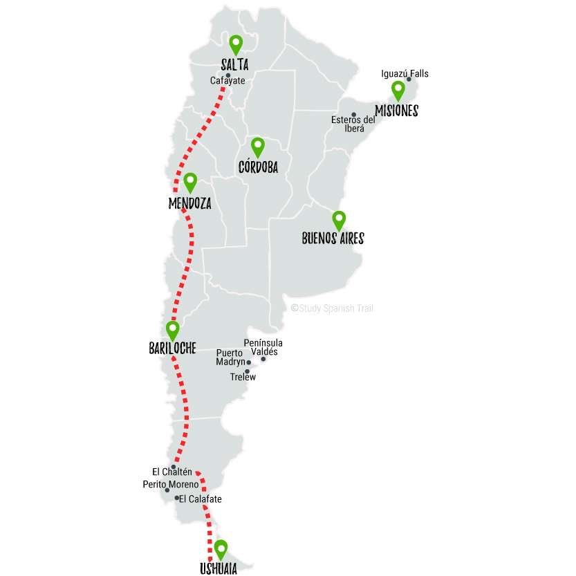 Travel & Learn Spanish in Argentina - Mountain Junkies Map