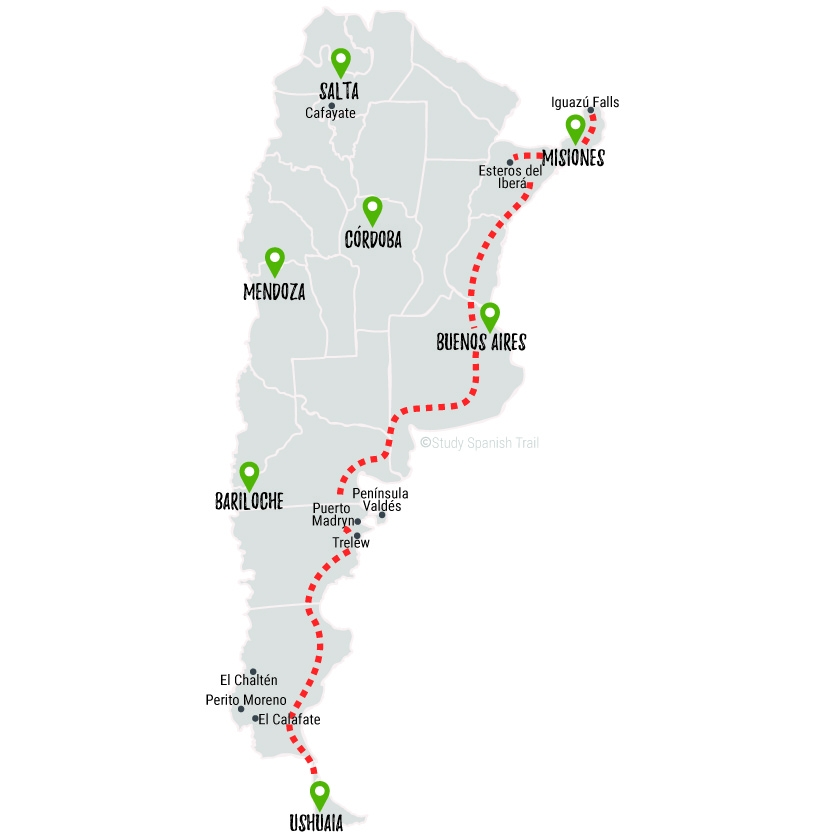Travel & Learn Spanish in Argentina - Road Less Traveled Map