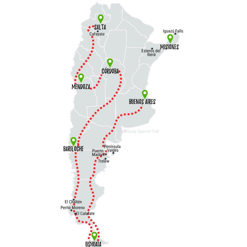 Travel & Learn Spanish in Argentina - Tranquilo Travel Map