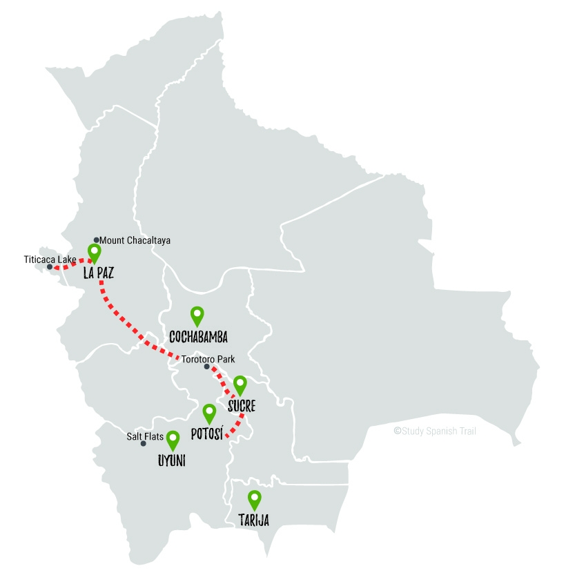 Travel & Learn Spanish in Bolivia - Culture Seekers Travel Map
