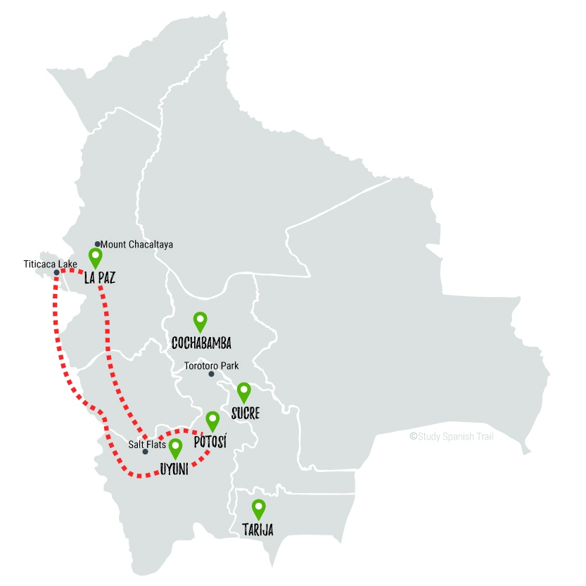 Travel & Learn Spanish in Bolivia - Rapido Travel Map