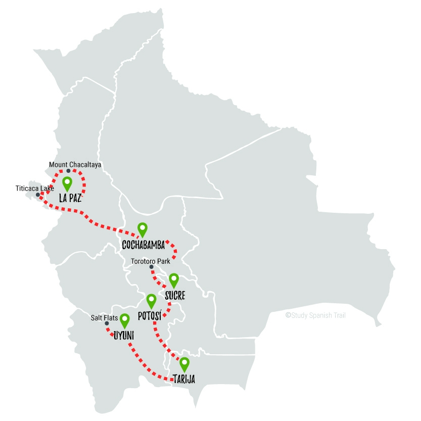 Travel & Learn Spanish in Bolivia - Tranquilo Travel Map