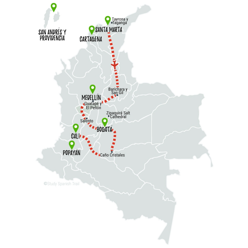 Travel & Learn Spanish in Colombia - Adventure Travel Map