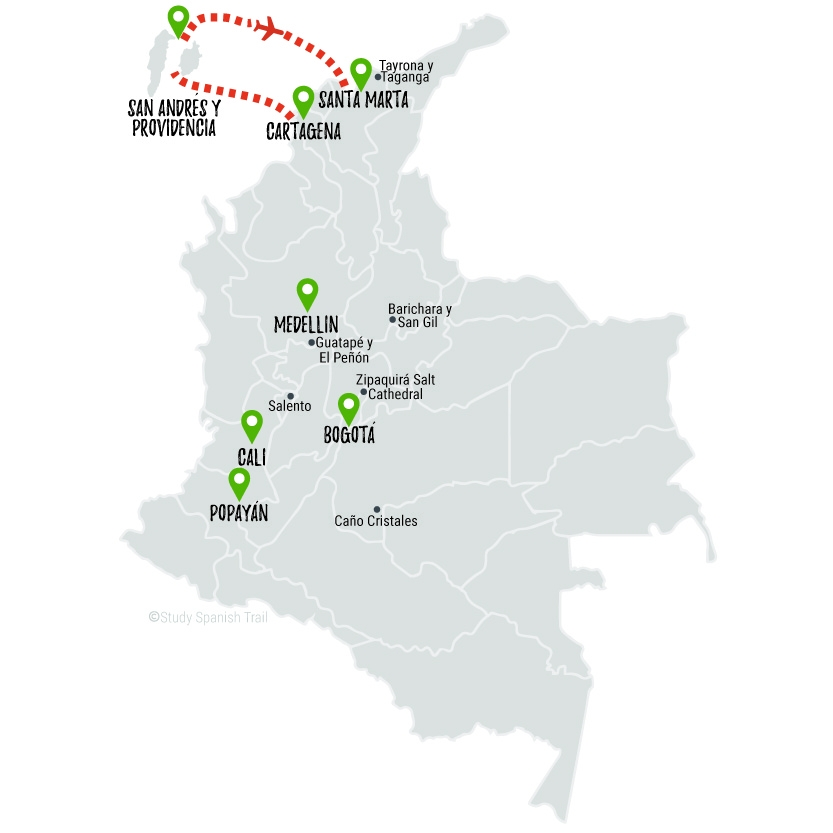 Travel & Learn Spanish in Colombia - Beach Bums Travel Map