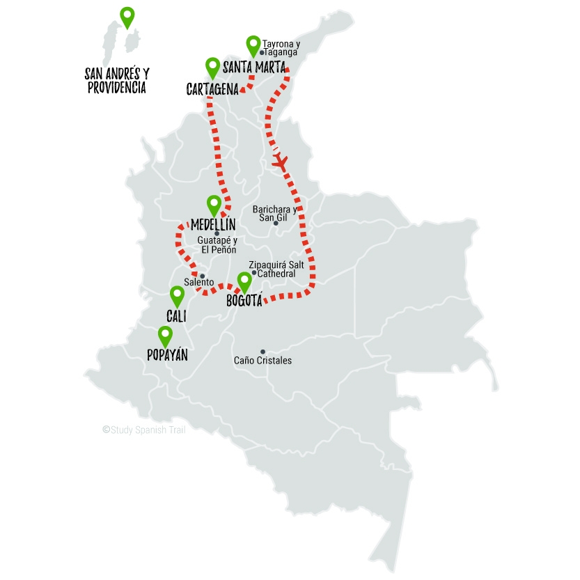 Travel & Learn Spanish in Colombia - Rapido Travel Map