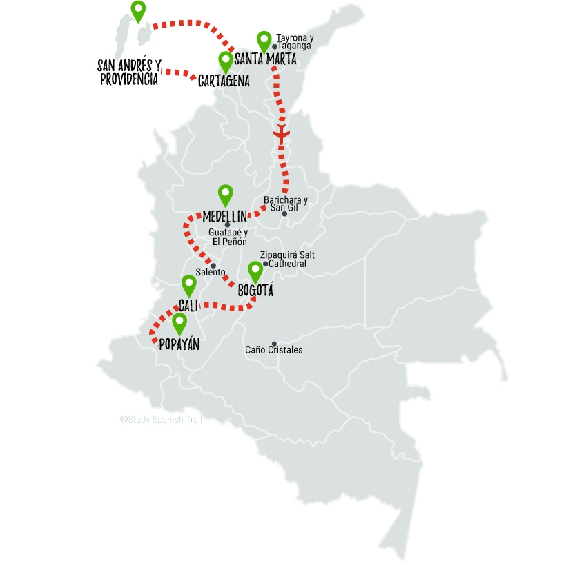 Travel & Learn Spanish in Colombia - Tranquilo Travel Map