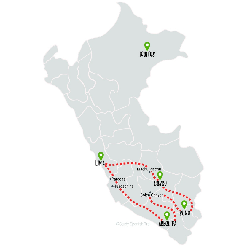 Travel & Learn Spanish in Peru - Rapido Travel Map
